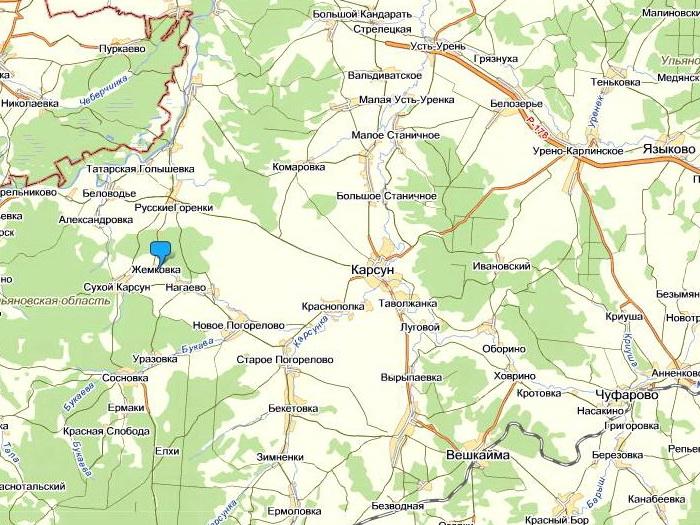 Карсунская Жемковка на карте Карсунского района Ульяновской области